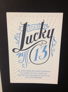 Lucky 13 2013 Happy New Year card