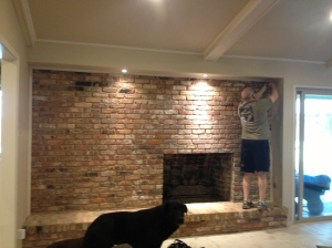 """before"": Bruce is removing trim, Guinness is looking on"