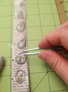 using tweezers to get the optimum number of seeds/glue blob