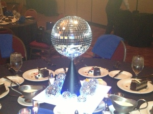 fun spinning disco ball centerpieces